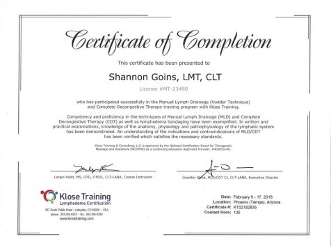 135 Hour Certified Lymphedema Therapy Program Including Manual Lymphatic Drainage (MLD) and Complete Decongestive Therapy (CDT)