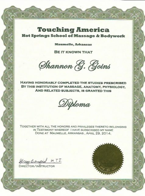 Massage School Diploma  (500 Hours)