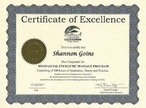 100 Hour Myofascial Energetic Massage Certificate