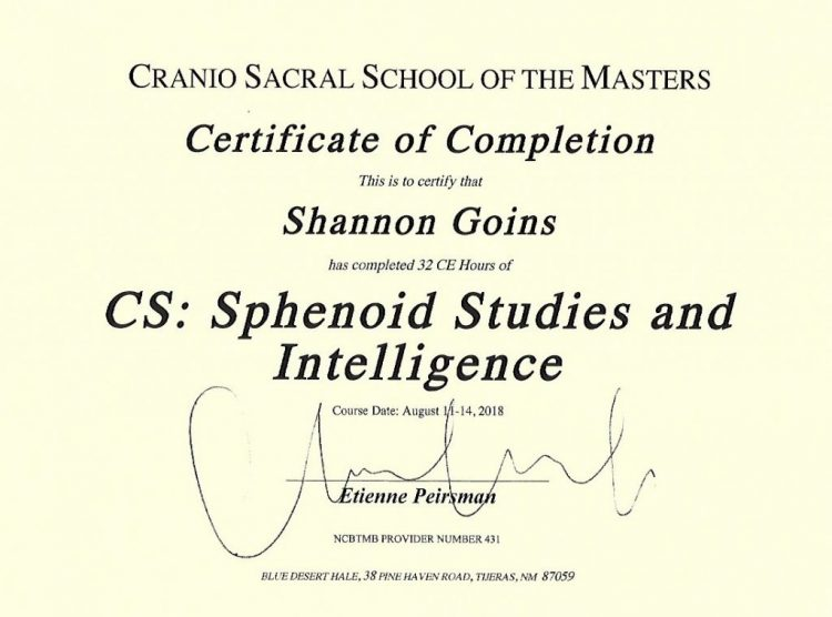 Craniosacral Sphenoid Studies & Intelligence Albuquerque
