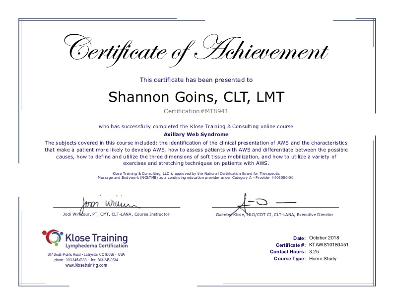Certifications Continuing Education Pain Swelling Solutions