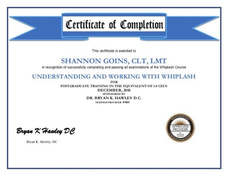 Understanding and Working with Whiplash Continuing Education Course