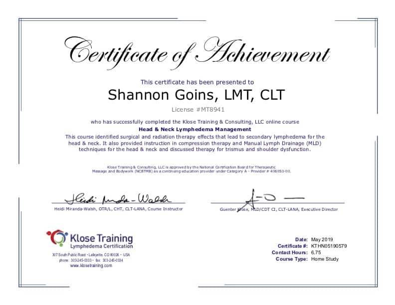 Head and Neck Lymphedema Certification Albuquerque