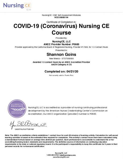 COVID-19 (Coronavirus) CE Course Albuquerque