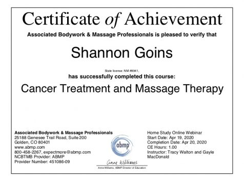 Cancer Treatment and Massage Therapy Albuquerque