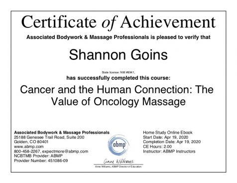 Cancer and the Human Connection: The Value of Oncology Massage Albuquerque