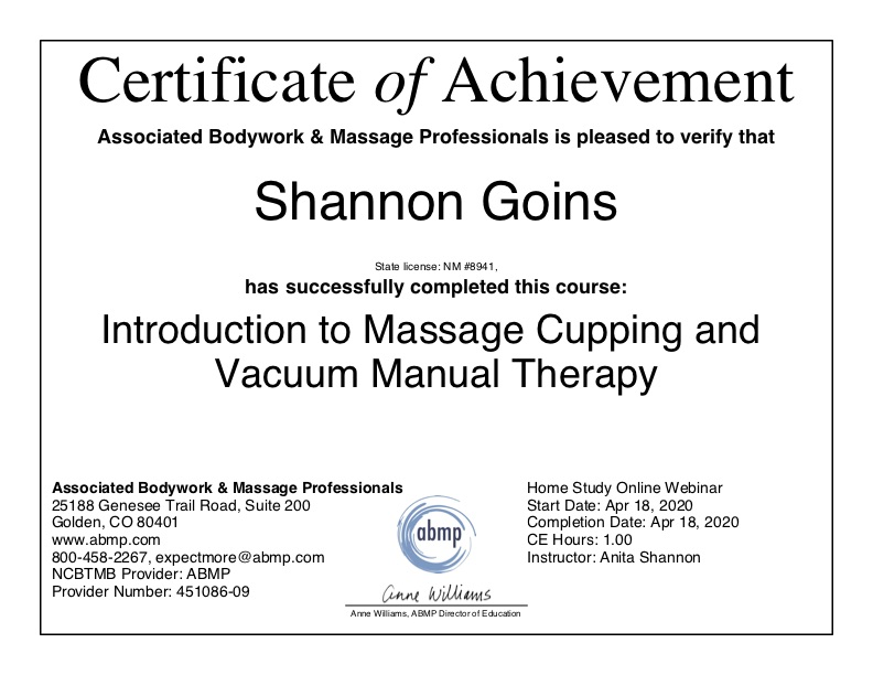 Introduction to Massage Cupping and Vacuum Manual Therapy