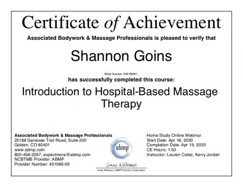 Hospital-Based Massage Therapy Albuquerque