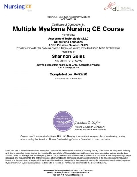 Multiple Myeloma Course Albuquerque