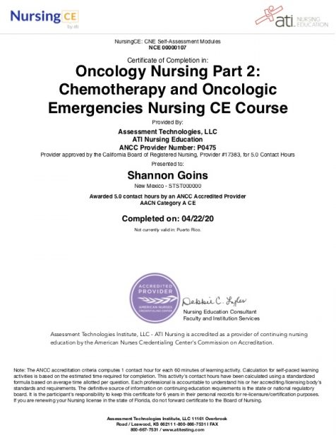 Oncology Nursing Part 2 - Chemotherapy and Oncologic Emergencies Albuquerque