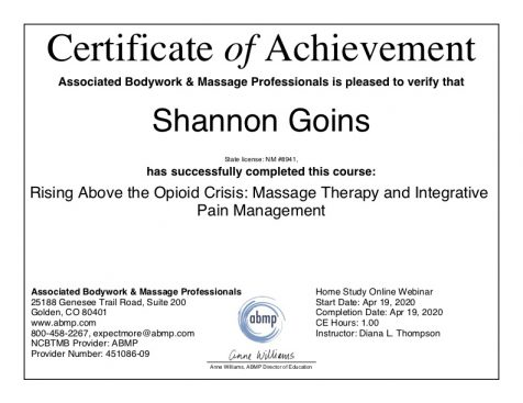 Massage therapy instead of opioids Albuquerque