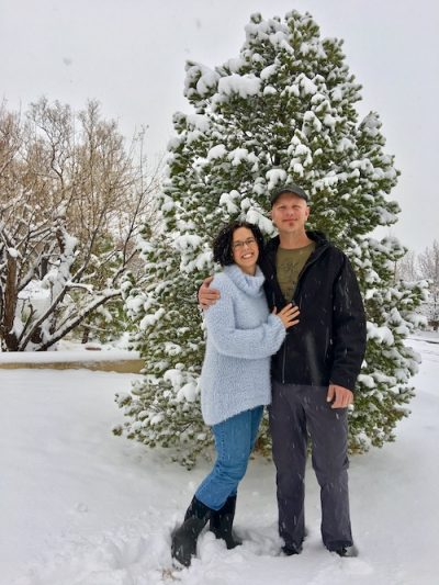 Tom and I Standing in front of tree in front yard -low res