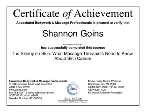 What Massage Therapists Need to Know About Skin Cancer Albuquerque