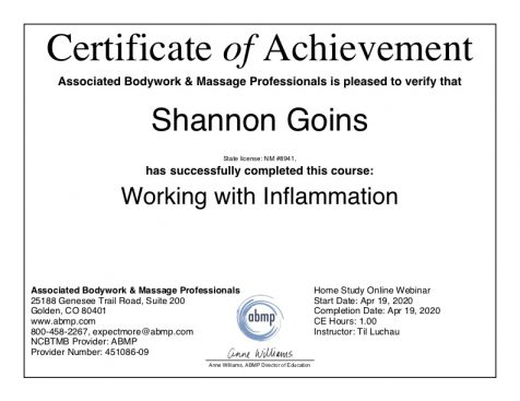 Massage for Inflammation Albuquerque
