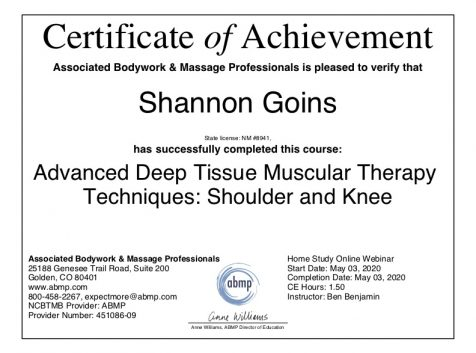 Advanced Deep Tissue Muscular Therapy Techniques of the Shoulder and Knee Albuquerque
