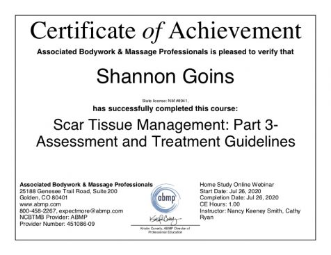 Scar Tissue - Assessment and Treatment Guidelines scar massage Albuquerque