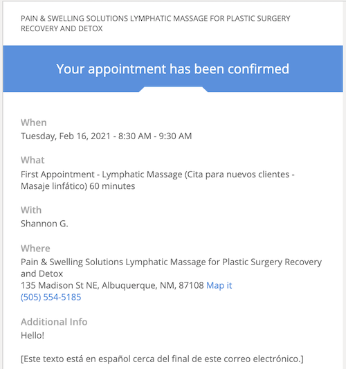 Appointment Confirmation Pain & Swelling Solutions lymphatic massage Albuquerque