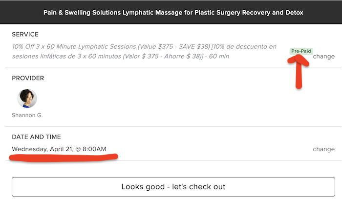 Pre-paid selected date and time Albuquerque lymphatic massage for cosmetic surgery recovery